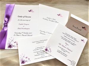 Purple and Lilac Butterfly Wedding Stationery Range