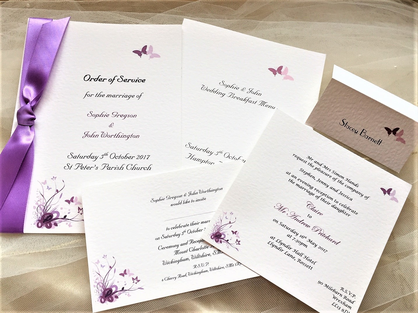 Purple and Lilac Butterfly Wedding Stationery