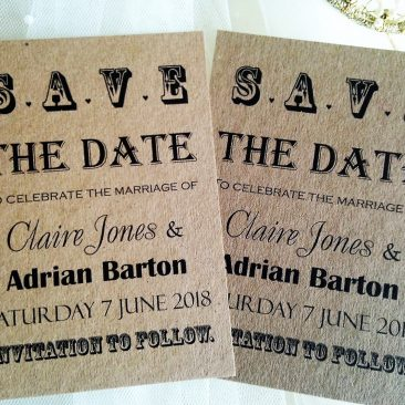 Kraft Card Vintage Save The Date Cards