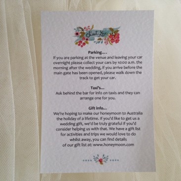 Sweet Love Guest Information Cards