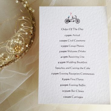 Tandem Bike Wedding Order of Day Cards