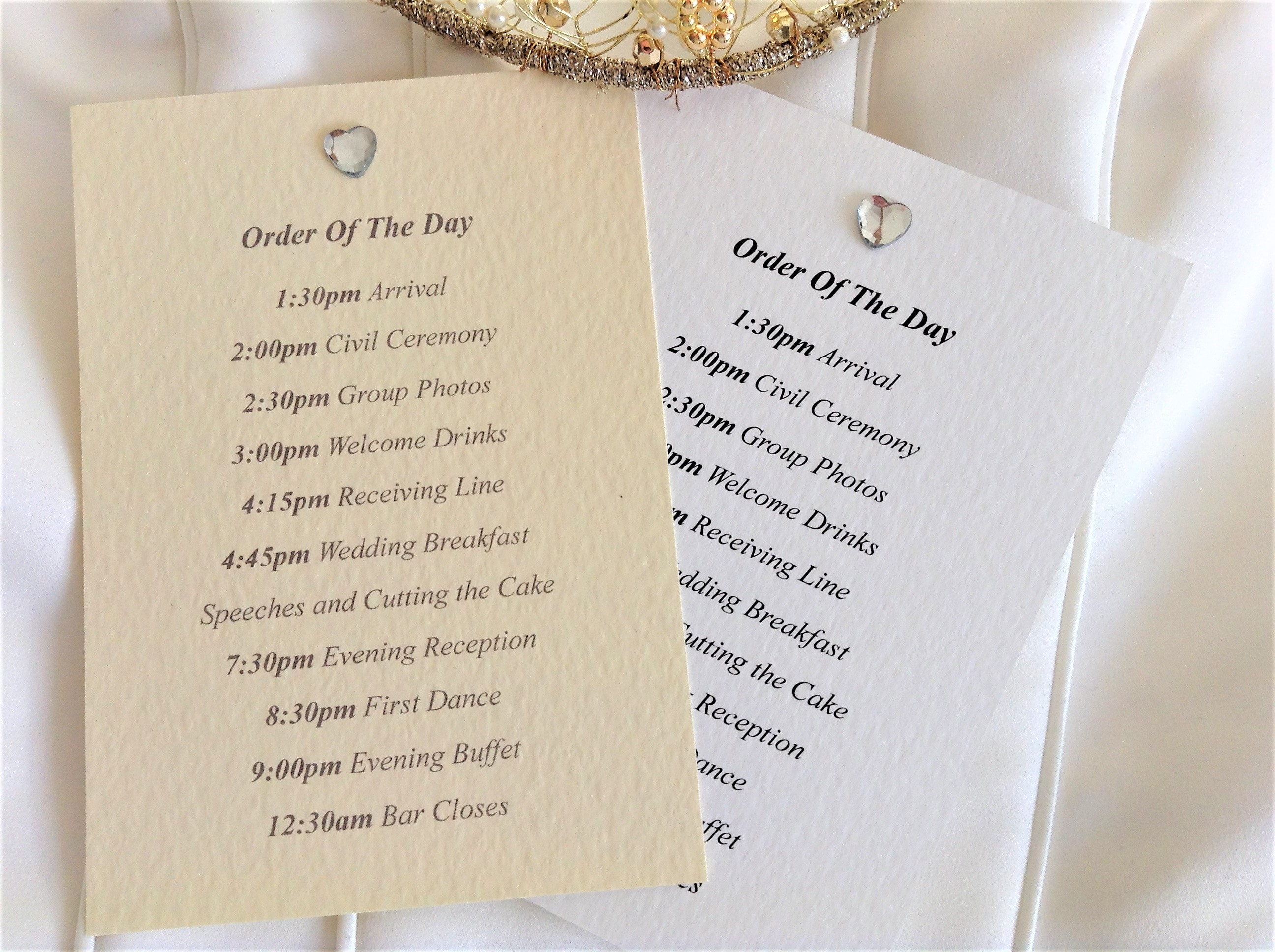 Diamante Heart Wedding Order of Day Cards