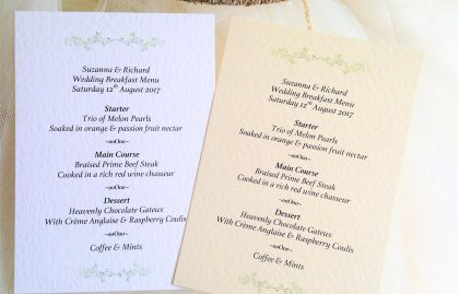 Woodland A6 Personalised Menu Cards