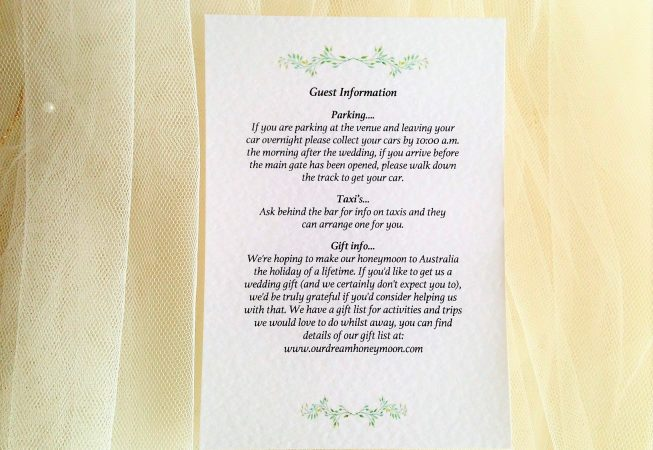 Woodland Guest Information Cards