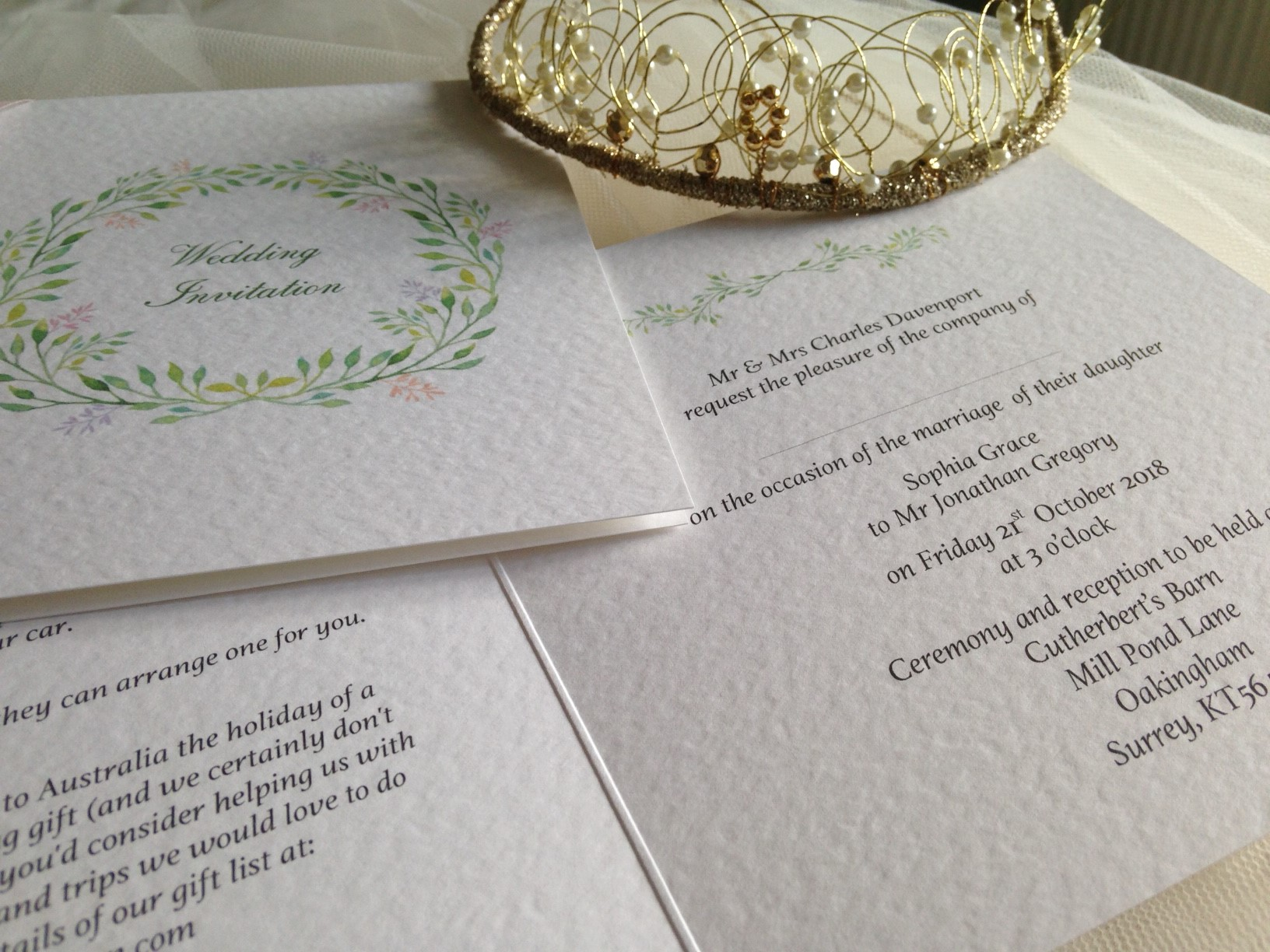 Woodland Square Centre Fold Wedding Invitations