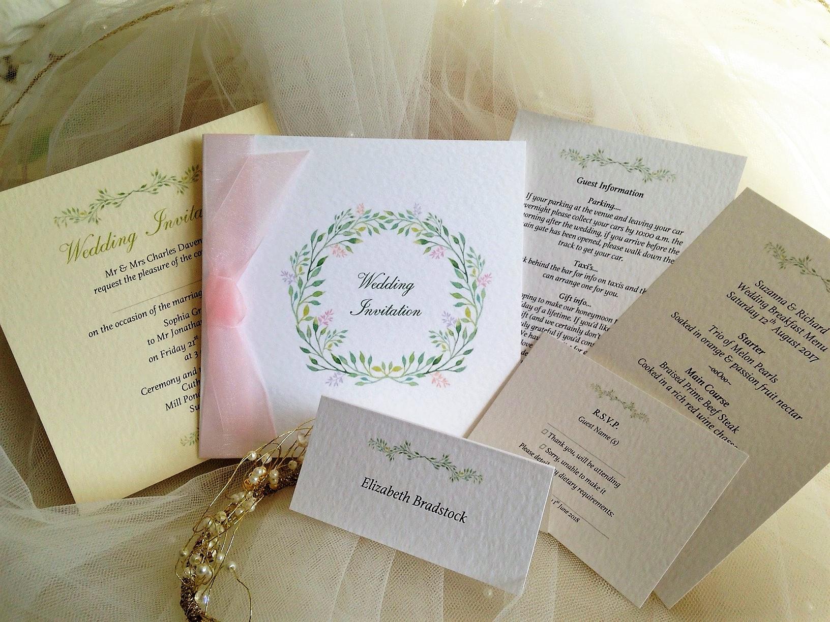 Woodland Wedding Stationery Range - Daisy Chain Invites