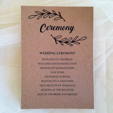 Wreath Ceremony Cards