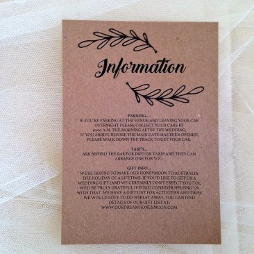 Wreath Guest Information Cards