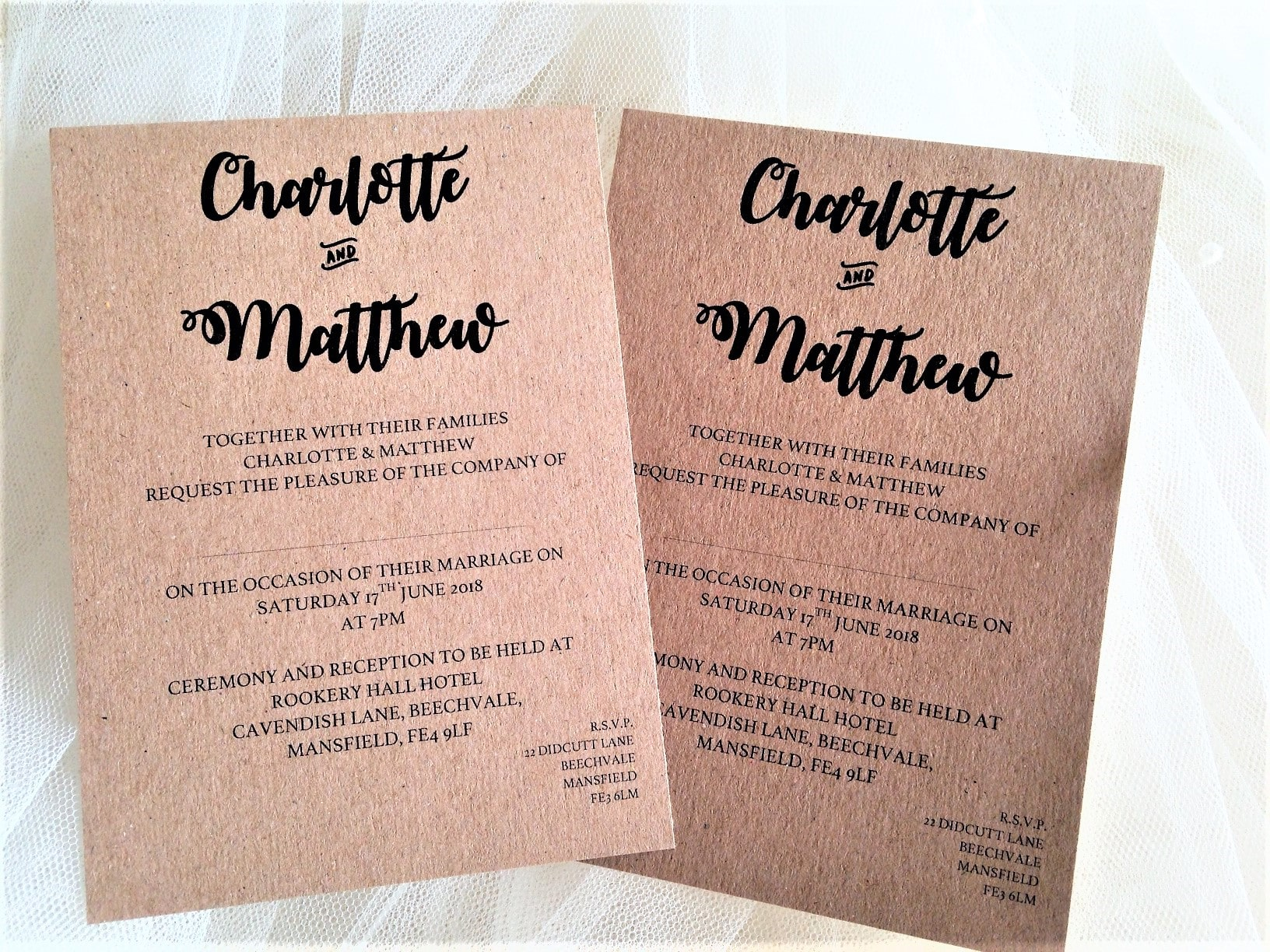Bride and Grooms Names Wedding Invitations