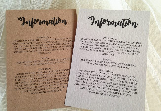 Bride and Grooms Names Information Cards
