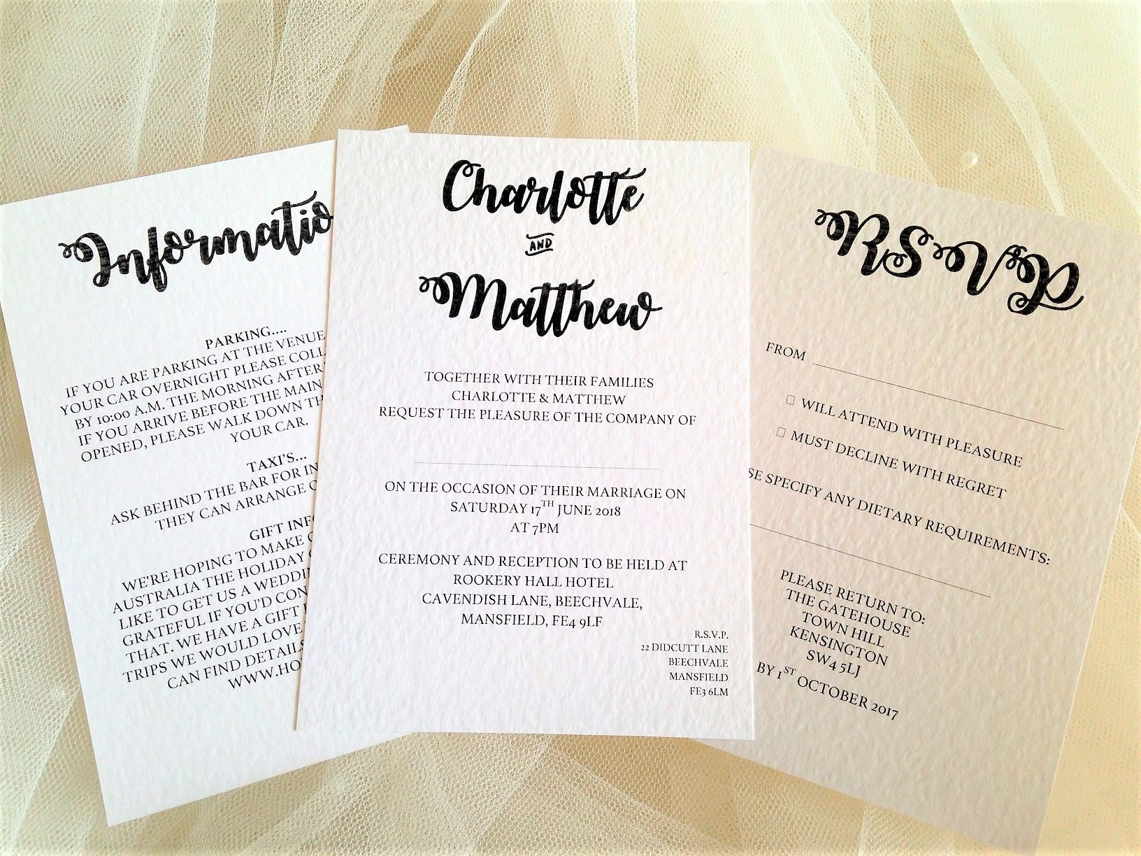 Bride and Grooms Names Wedding Stationery