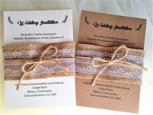 Burlap and Lace Wedding Invitation Bundle