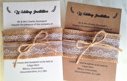 Burlap and Lace Wedding Invitation Bundle