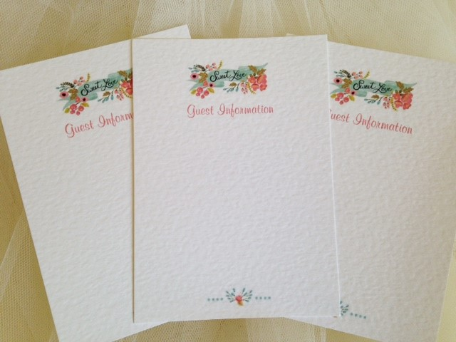 DIY Guest Information Cards - Sweet Love