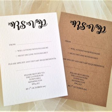 Bride and Grooms Names RSVP Postcards