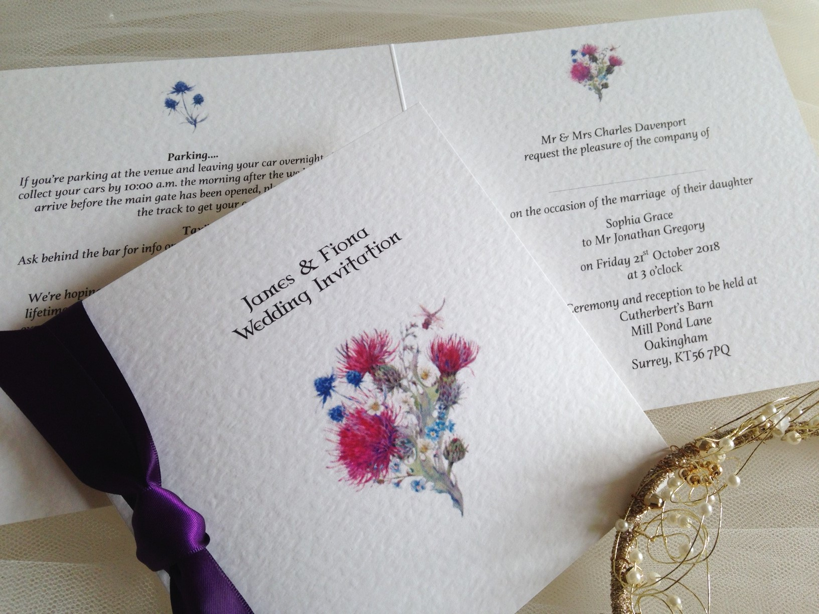 Wedding Invitations England: Thistle Wedding Invitations
