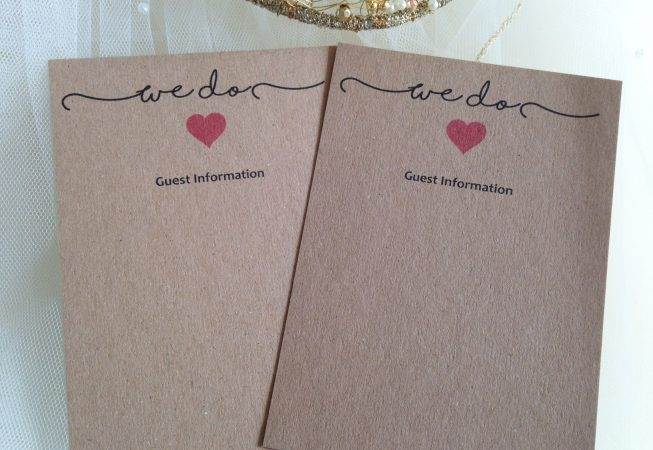 "Rustic Guest Information Cards - ""We Do"""
