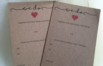 "Rustic Wedding Invitations and Envelopes – ""We Do"". Pack of 20"