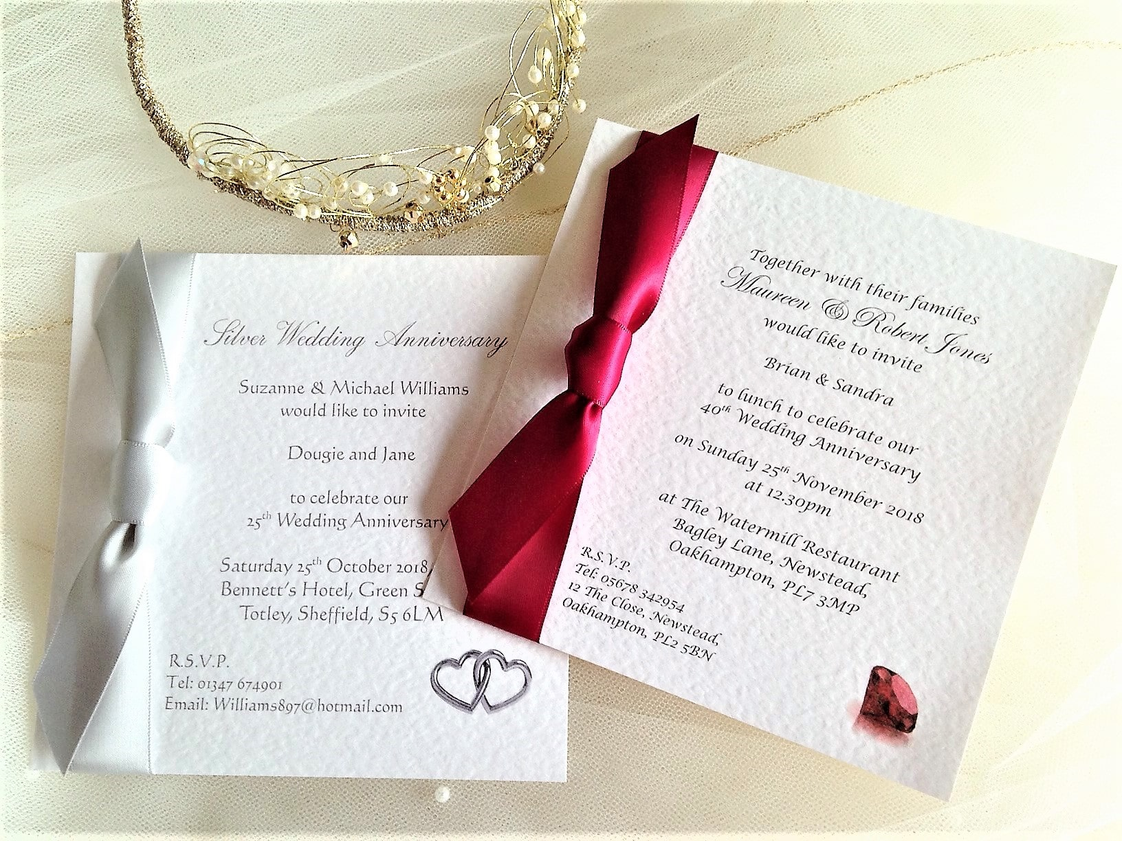 Square Wedding Anniversary Invitations with Ribbon