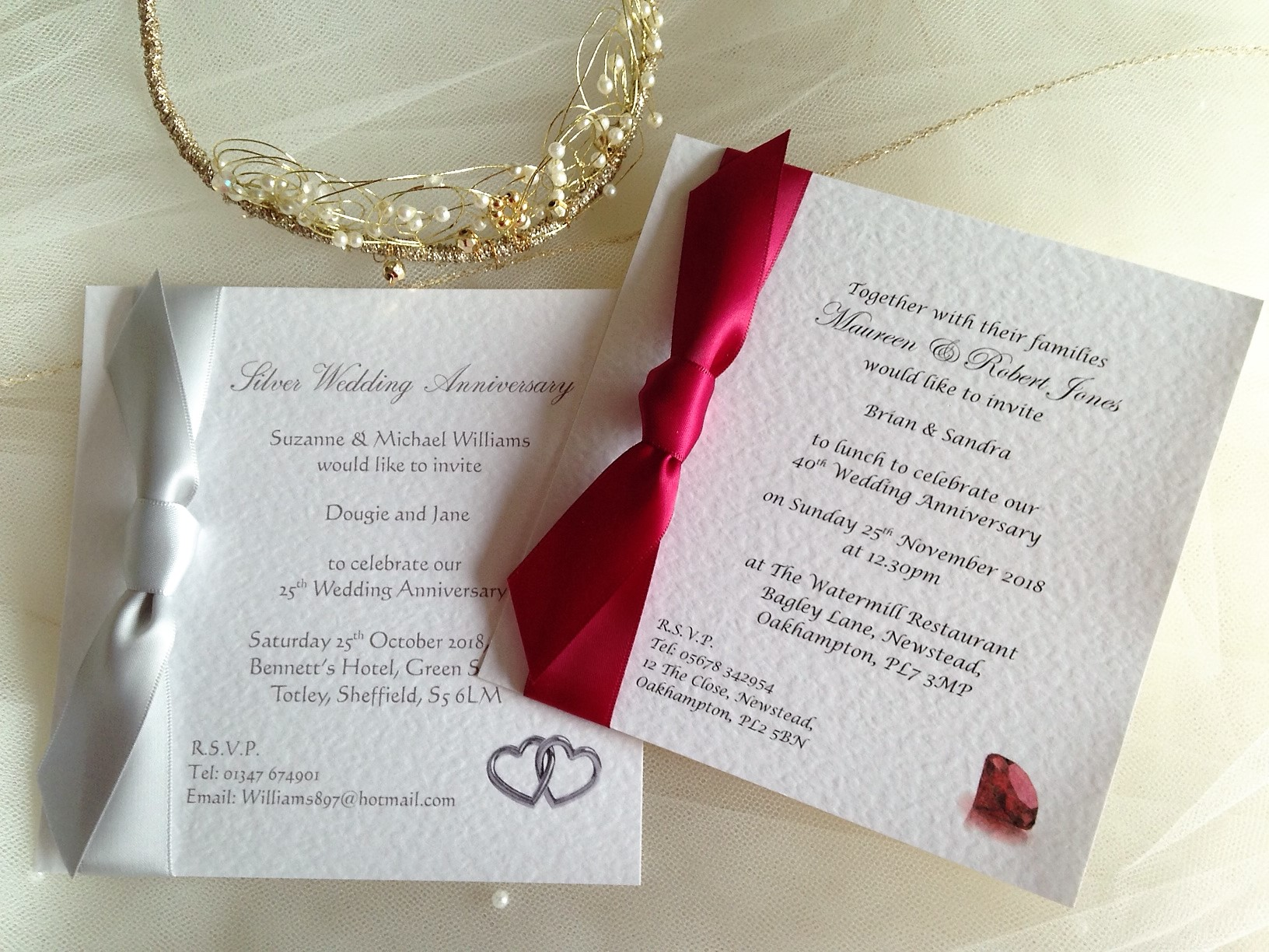 Square Wedding Anniversary Invitations with side ribbon