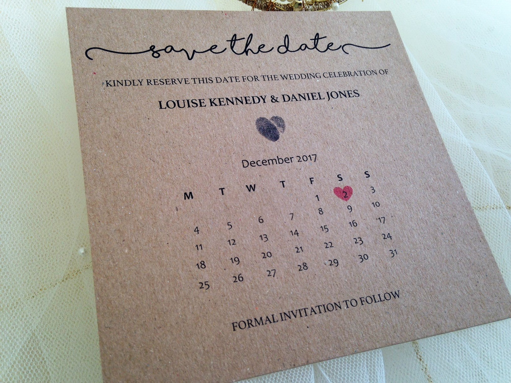 Matching Save The Date And Wedding Invitations: Calendar Save The Date Cards