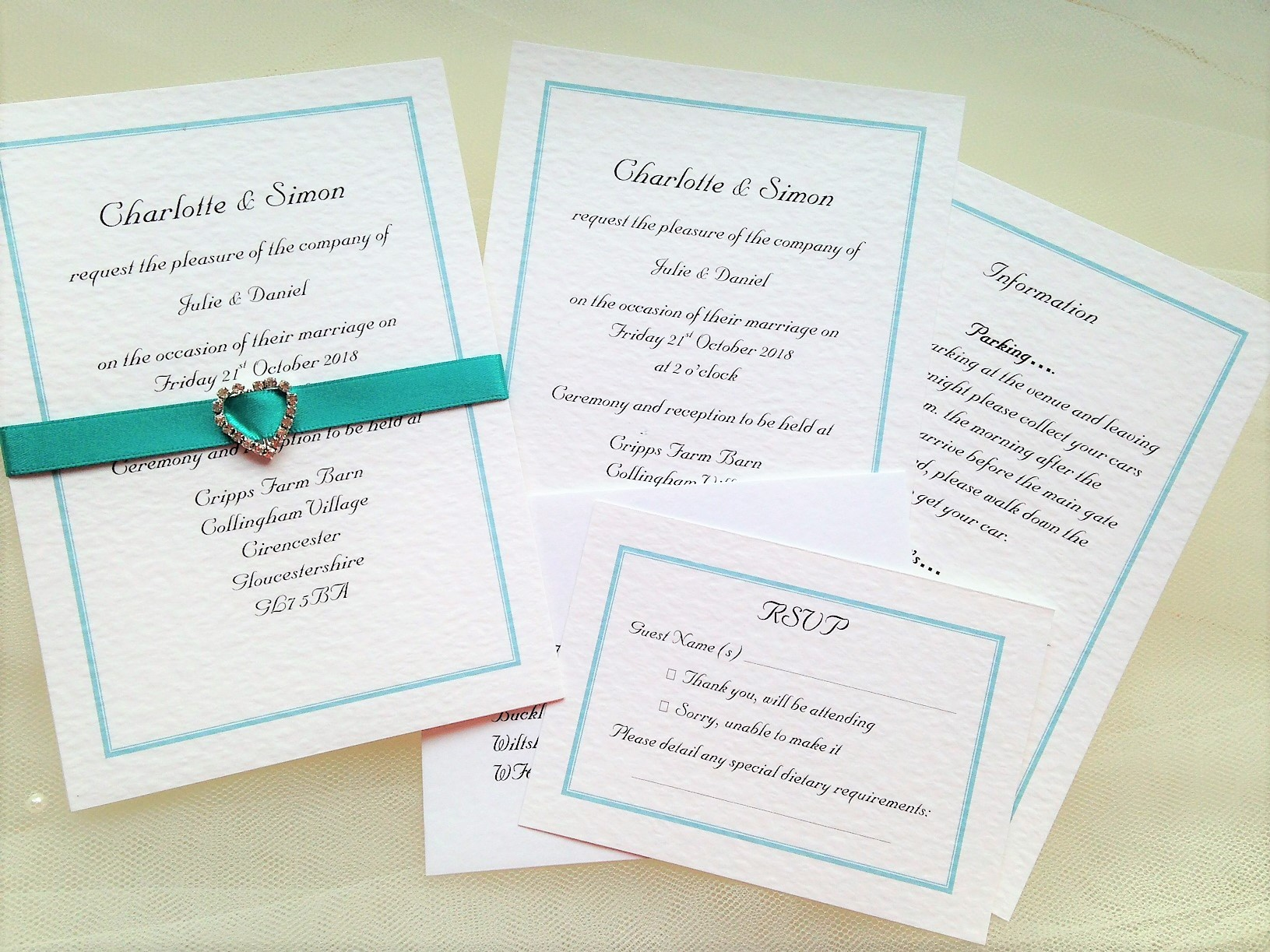Rhinestone Buckle Wedding Invitations