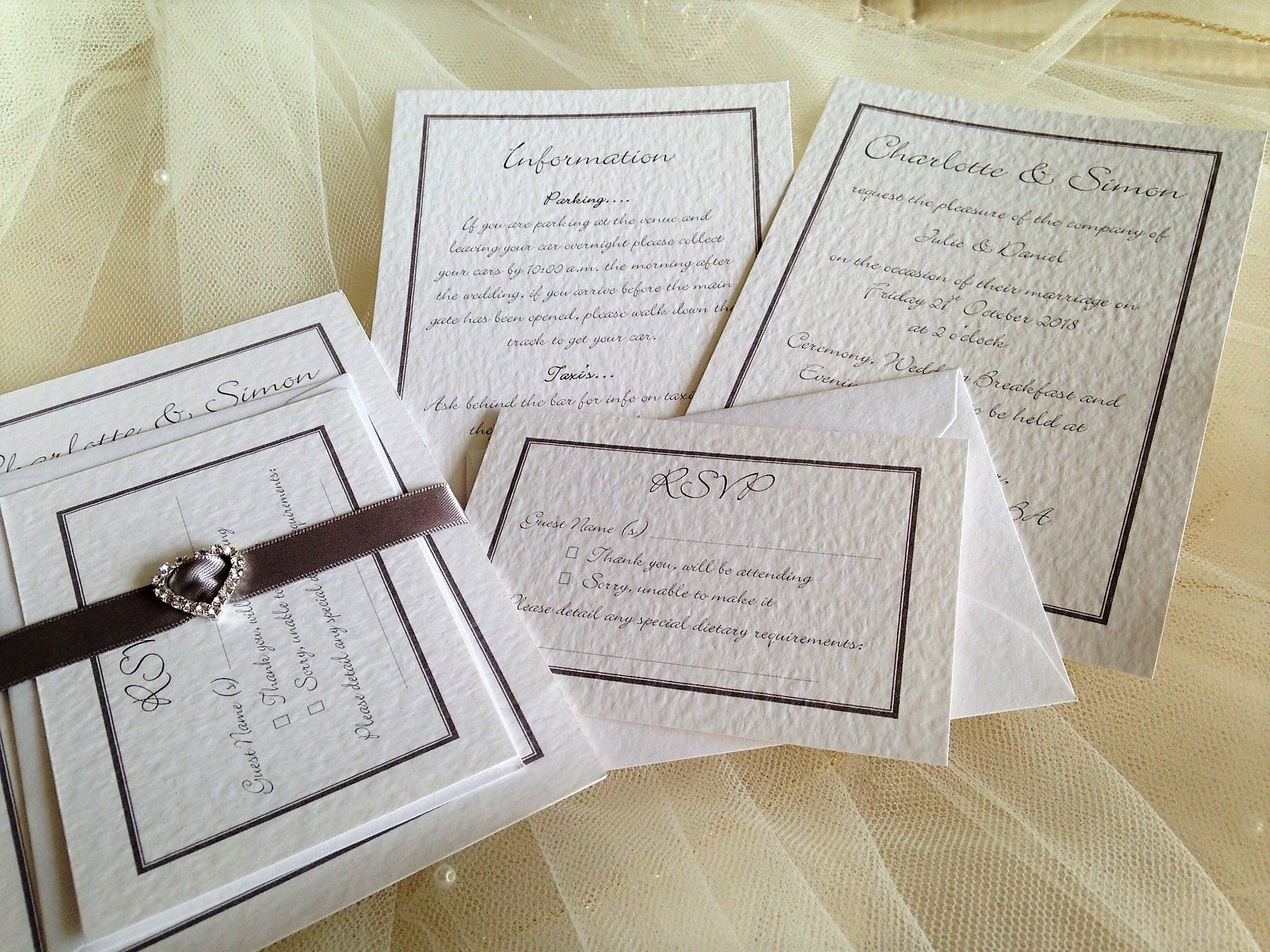 Rhinestone Buckle Wedding Stationery | Wedding Invitations | Affordable