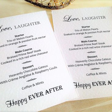 Love Laughter Personalised Menus