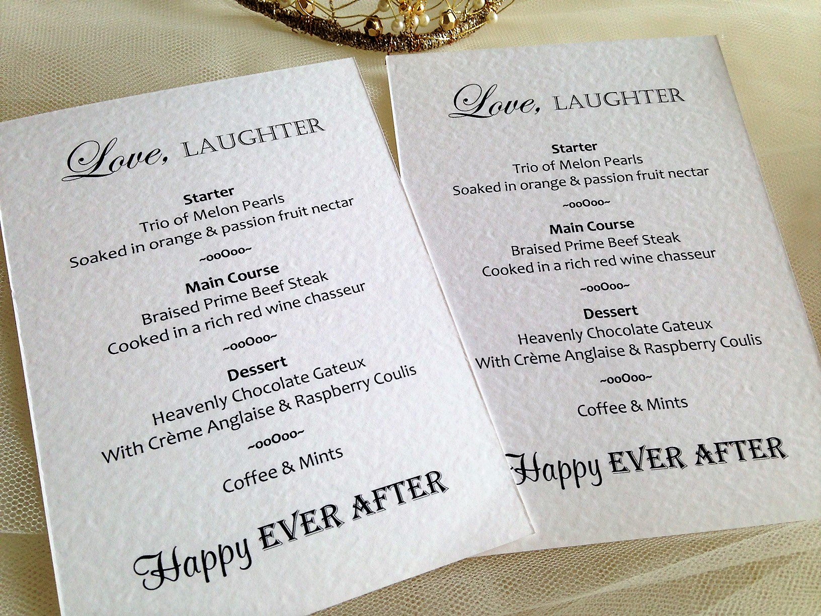 Love Laughter Happy Ever After Personalised Menus