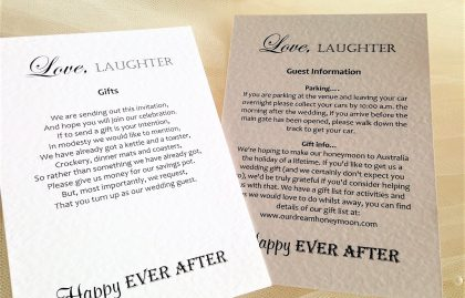 Love Laughter Additional Information Cards