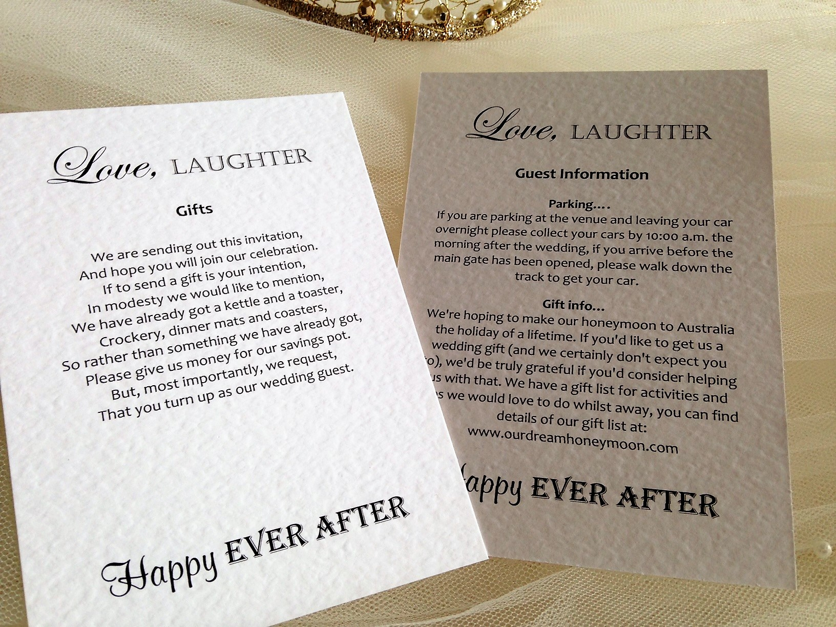 Love Laughter Additional Information Card 45p Each
