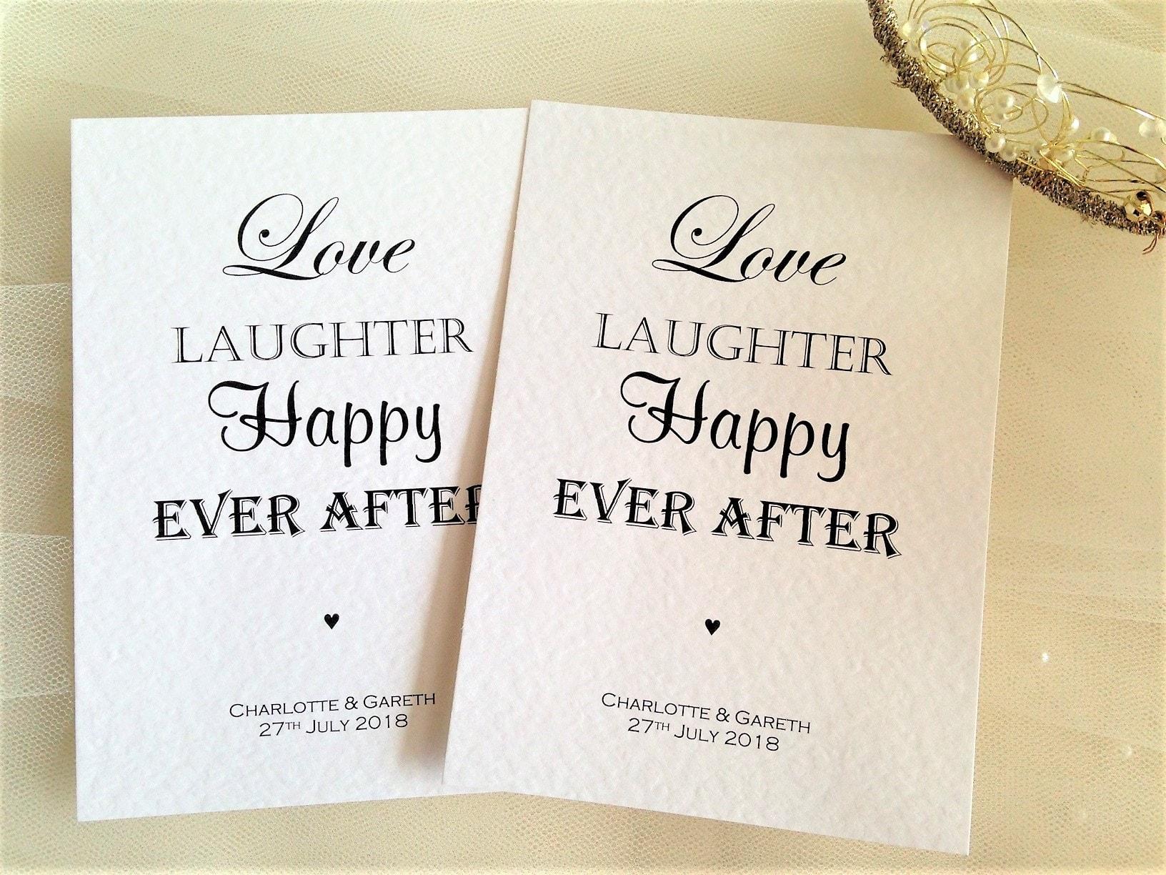 Postcard Wedding Invites: Love Laughter Postcard Wedding Invitations