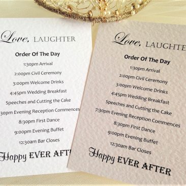 Love Laughter Wedding Order of Day Cards