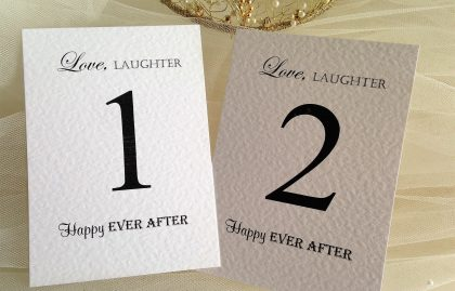 Love Laughter Table Name and Table Number Cards