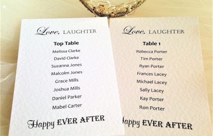 Love Laughter Table Plan Cards