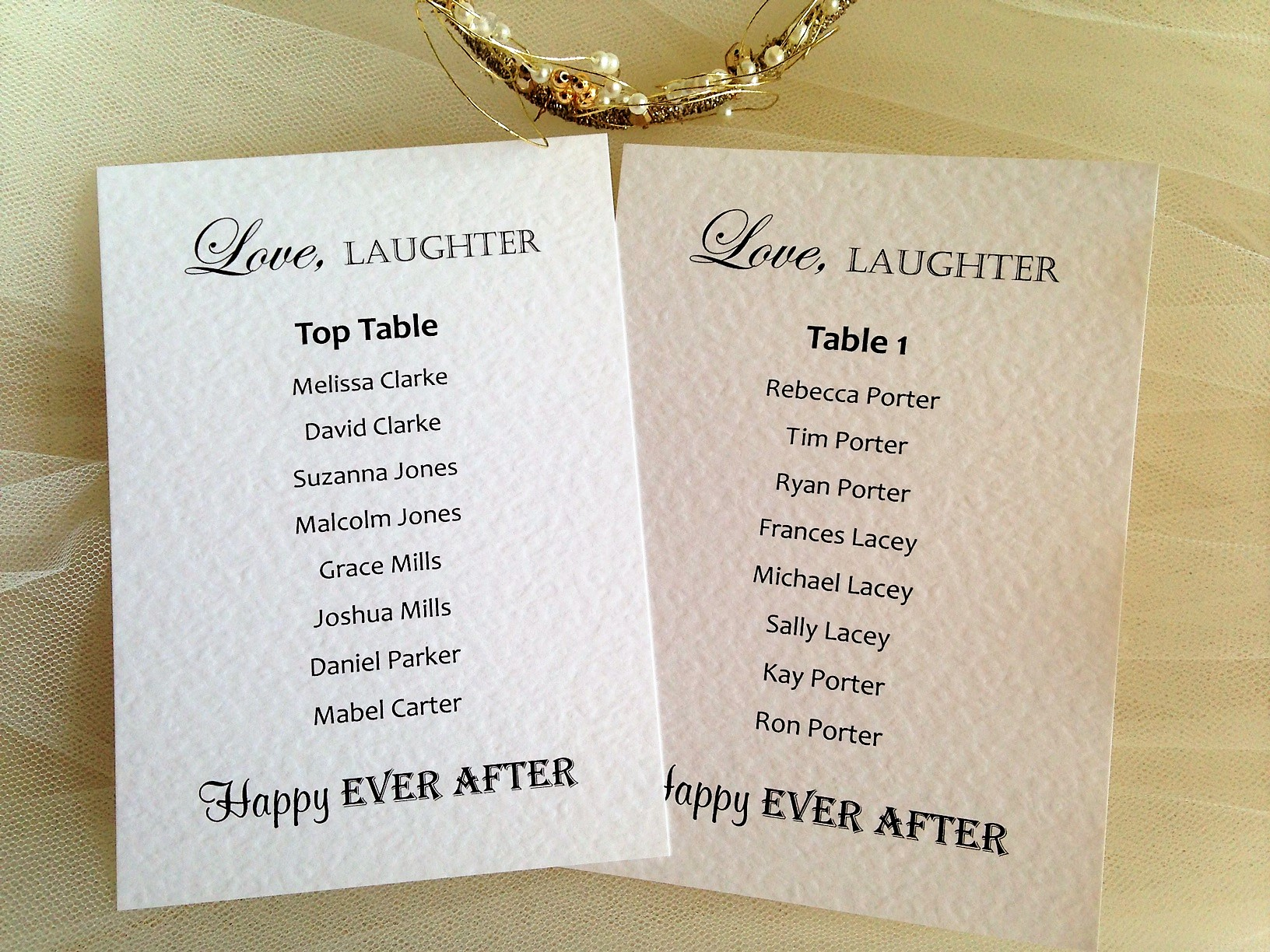 Love, Laughter A6 Rectangular Table Plan Cards