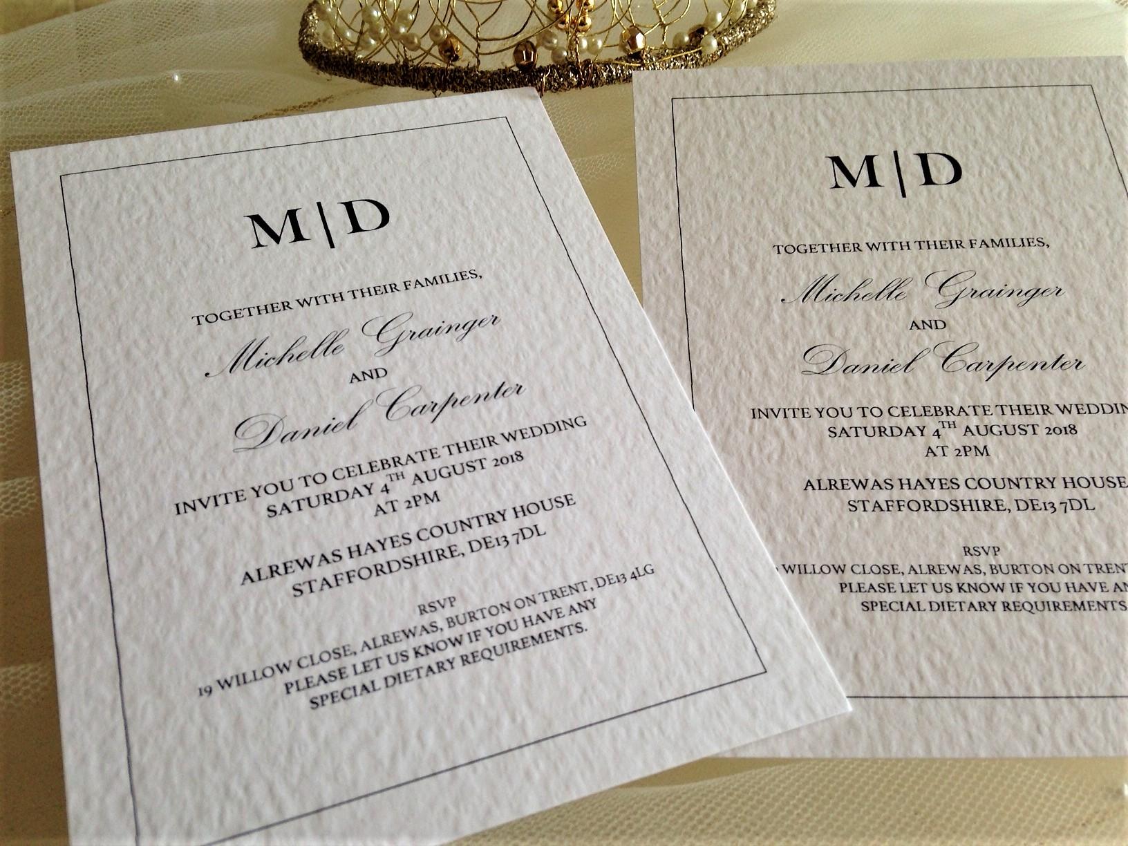 Kent Wedding Invitations 80p Each Free Envelopes
