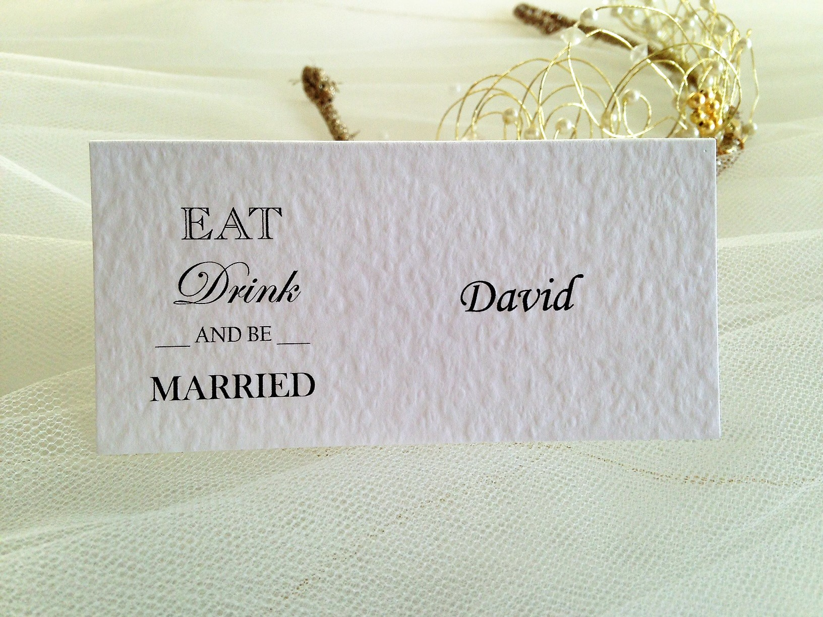 Eat, Drink and Be Married Place Cards | Wedding Stationery