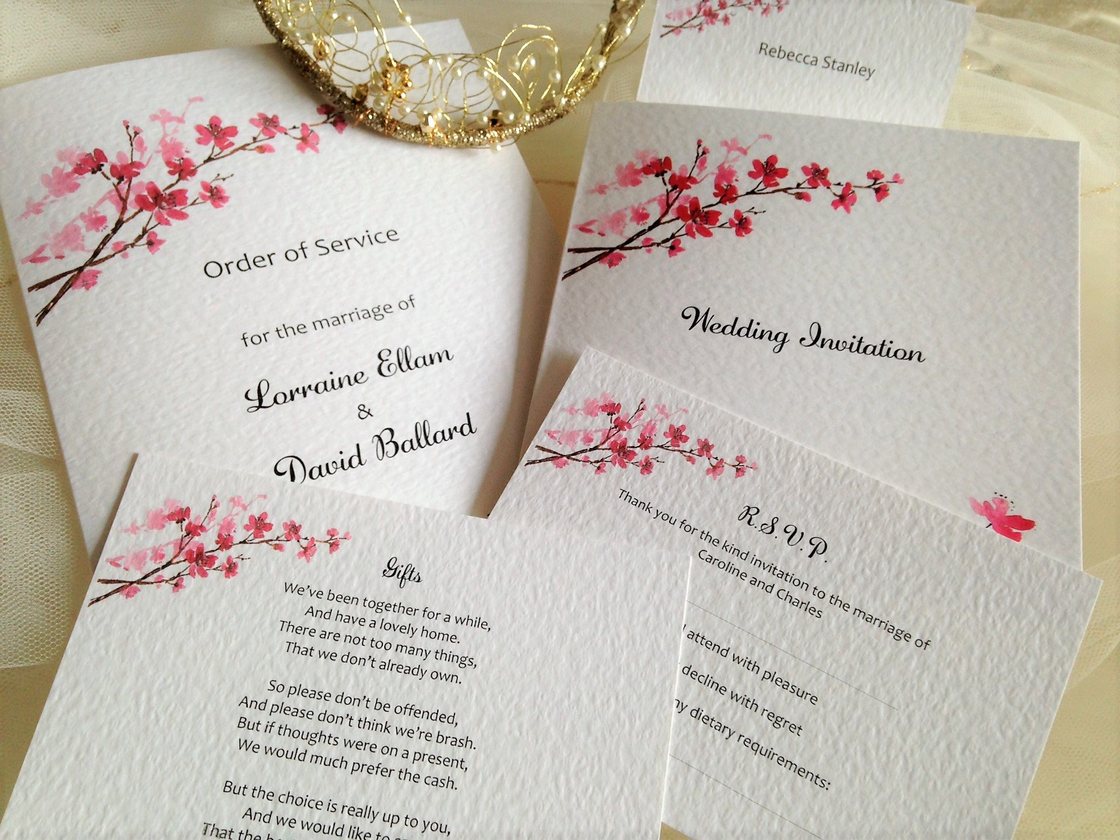 Cherry blossom wedding stationery from 45p junglespirit
