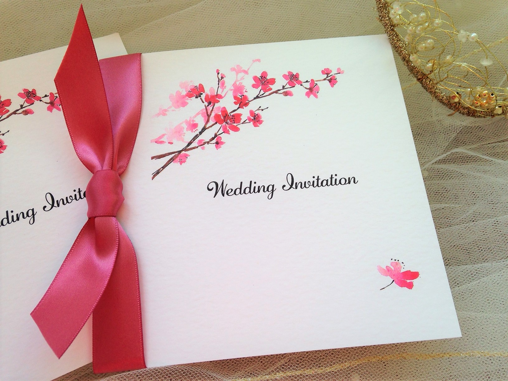 wedding invitations with ribbon from 85p each with free envelopes