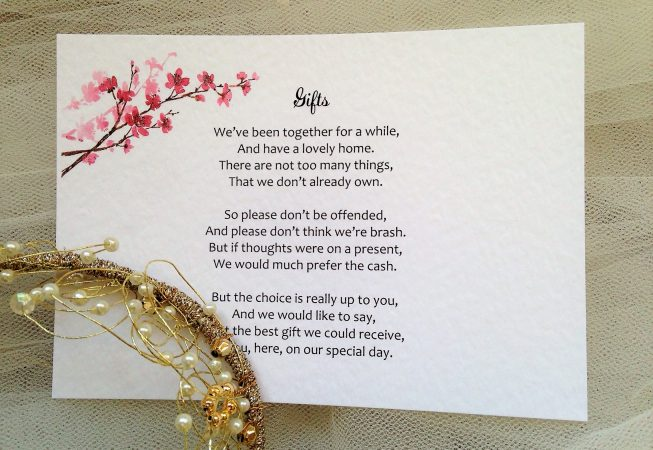 Cherry Blossom Guest Information Cards