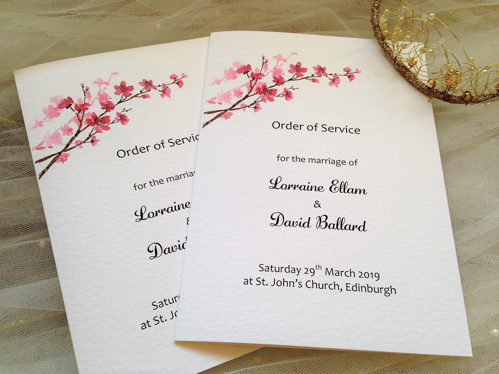 Cherry Blossom Wedding Order of Service Books | Stationery