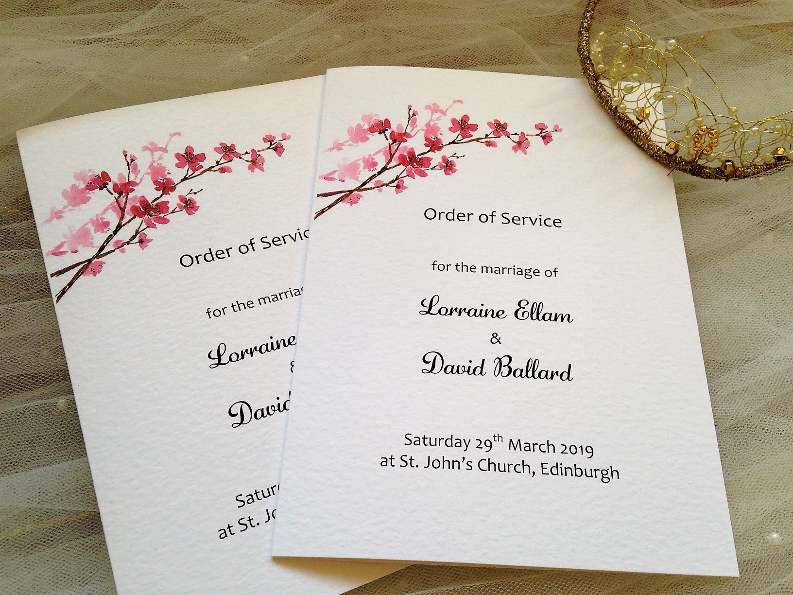 Cherry Blossom Wedding Order of Service Books