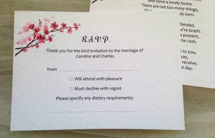 Cherry Blossom RSVP cards and envelopes