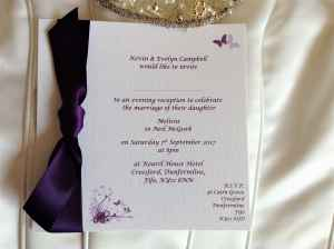 Aubergine wedding invitations