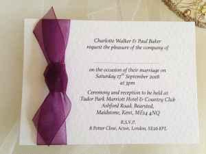 Aubergine Single Sided Wedding Invitations