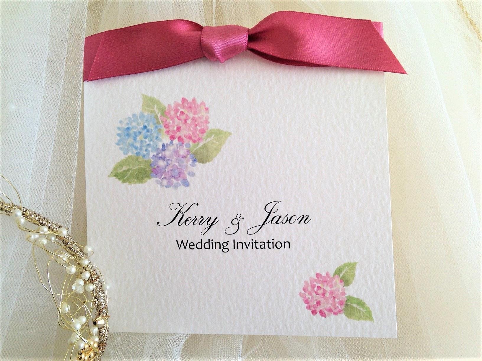Hyrdangea Wedding Invitations with Blush Ribbon - Daisy Chain Invites