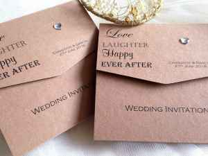 Love, Laughter Brown Wedding Invitations