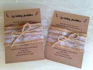 Brown Burlap and Lace Belly Band Wedding Invitations