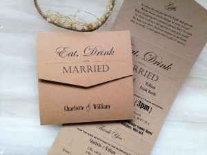 Brown Vintage Tri Fold Wedding Invitations